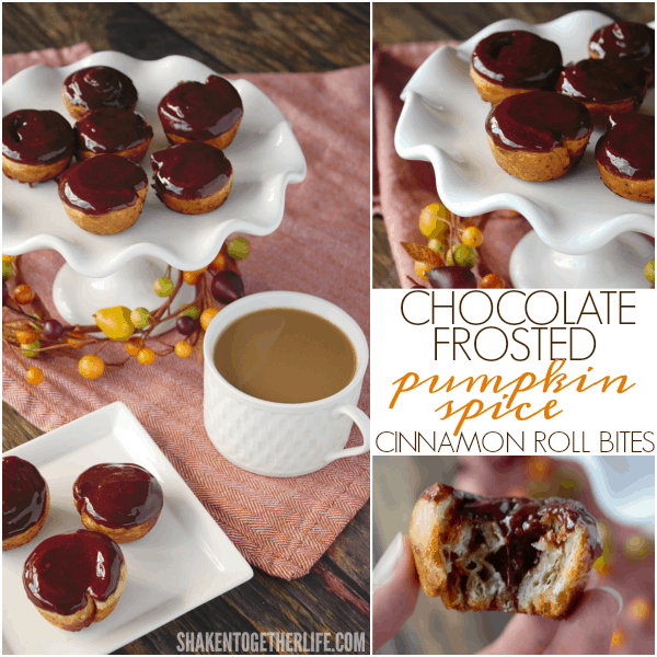 Chocolate Frosted Pumpkin Spice Cinnamon Roll Bites - flaky layers of puff pastry, spirals of pumpkin pie spiced sugar and that glossy, gorgeous chocolate frosting!