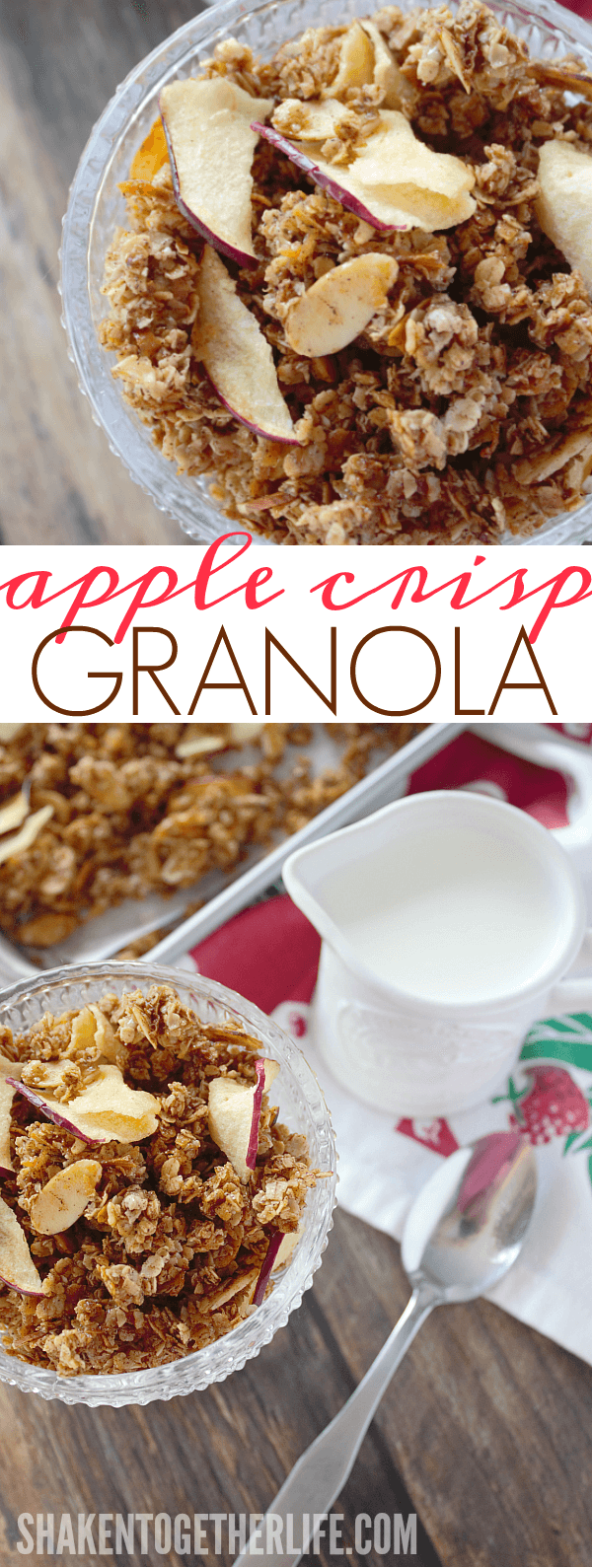 Homemade Apple Crisp Granola - a big ol' pan of toasted oats, almonds and the warm flavors of apple crisp!