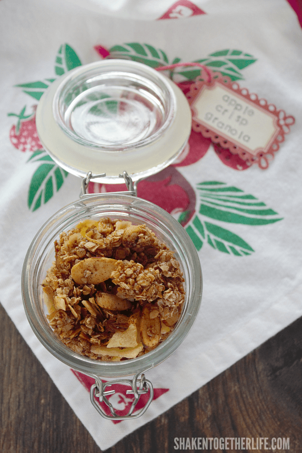 Homemade Apple Crisp Granola is a must make Fall treat! Perfect over ice cream or yogurt, added to a parfait or as a healthy snack!