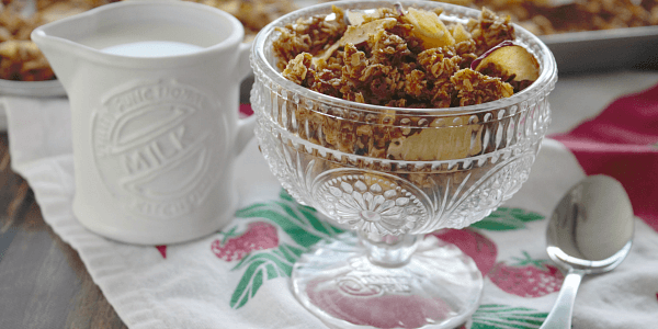 Homemade Apple Crisp Granola is loaded with oats, almonds, apple pie spice and crunchy apple chips - it is a delicious, healthy Fall treat!