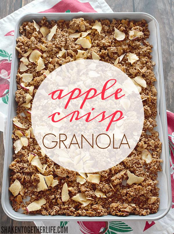 Homemade Apple Crisp Granola on a pan