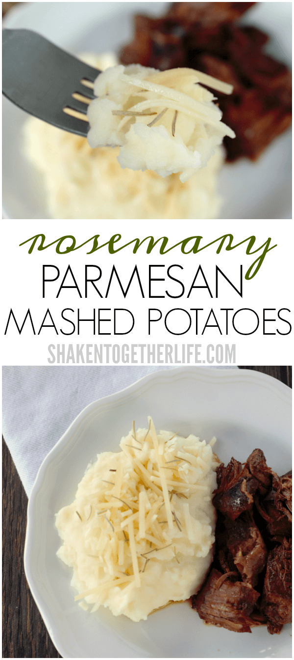 Creamy and cheesy, these Rosemary Parmesan Mashed Potatoes are done in minutes and are the perfect side dish for a Sunday family dinner!
