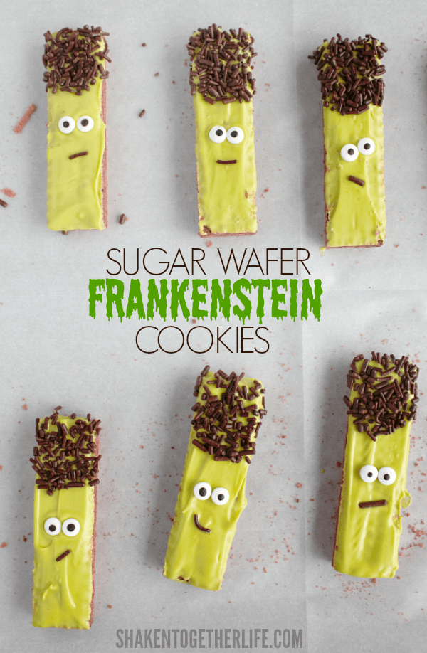 Sugar Wafer Frankenstein Cookies - these are the cutest no bake cookies!