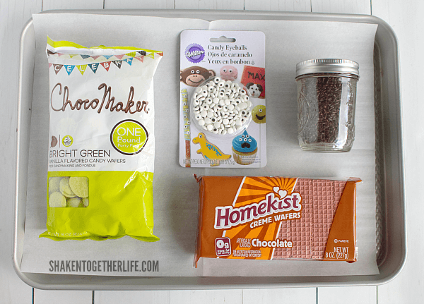 Sugar Wafer Frankenstein Cookies start with these basic supplies ... no fancy tools needed and the kiddos can totally help!