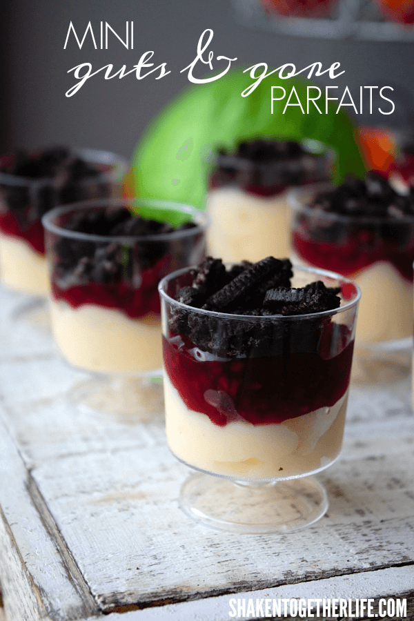 I LOVE these mini Guts & Gore Parfaits - so cute for a Halloween dessert bar!