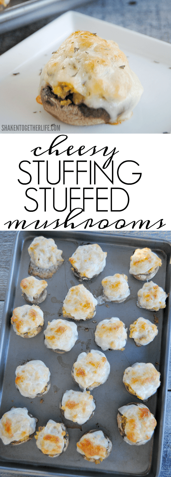 With only 3 ingredients, Cheesy Stuffing Stuffed Mushrooms are an easy game day or Thanksgiving appetizer!