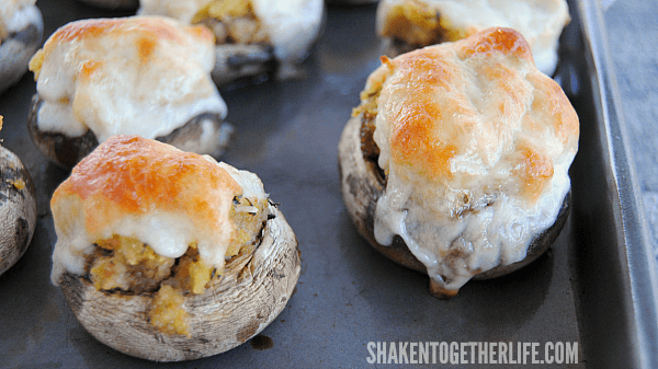 Cheesy Stuffing Stuffed Mushrooms - the bubbly, browned cheese is my favorite part!