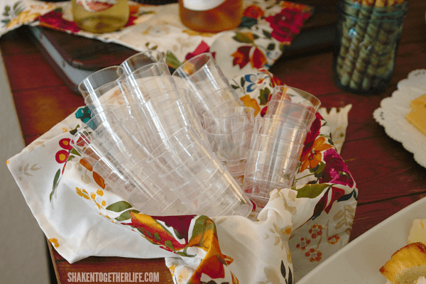 Host a Fall Wine Tasting Party - we used small plastic tasting cups. No washing, no broken glass ... easy to wash or toss!