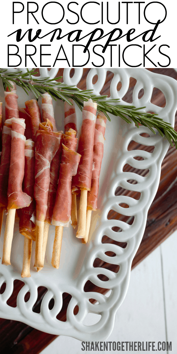 Prosciutto Wrapped Breadsticks - paper thin Italian ham wrapped around thin crispy breadsticks. These 2-ingredient appetizers are SO easy!