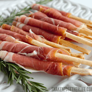Prosciutto Wrapped Breadsticks are a delicious, unbelievably easy appetizer with only 2 ingredients!