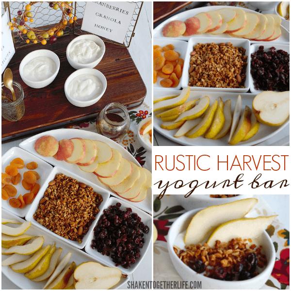 A Rustic Harvest Yogurt Bar is stocked with creamy vanilla yogurt, dried fruit, honey, fresh fruit and granola!