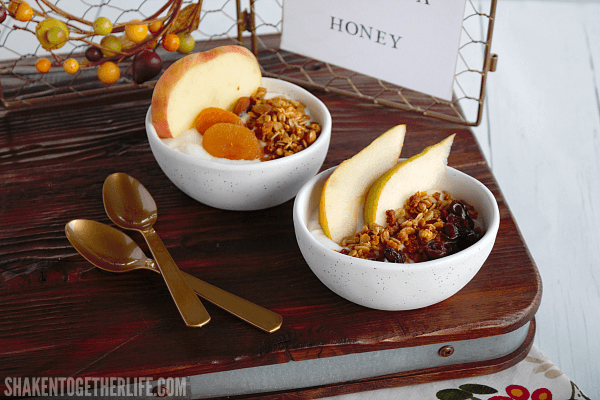 Host a Rustic Harvest Yogurt Bar - it is an easy way to entertain for any Fall event!