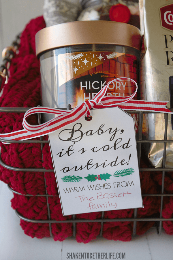 A Baby It's Cold Outside Gift Basket is a great holiday gift - remember to print the free gift tag, too!