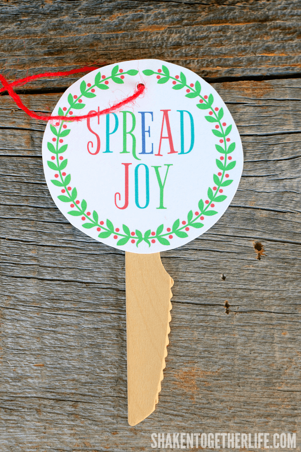 You can't spread joy without a cute tag and wooden knife - perfect for a Spread Joy Holiday Gift!