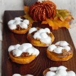 Sweet Potato Casserole Bites! This easy twist on a classic holiday dish make a delicious appetizer or side dish for Thanksgiving!