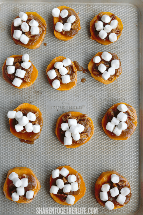 Sweet Potato Casserole Bites are not complete without mini marshmallows!