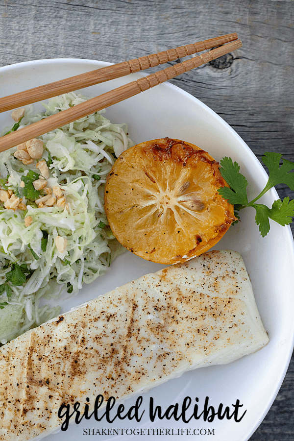 Fresh Alaskan fish is the star of this Grilled Halibut with Cilantro Cabbage Slaw! The entire meal is done in about 10 minutes!