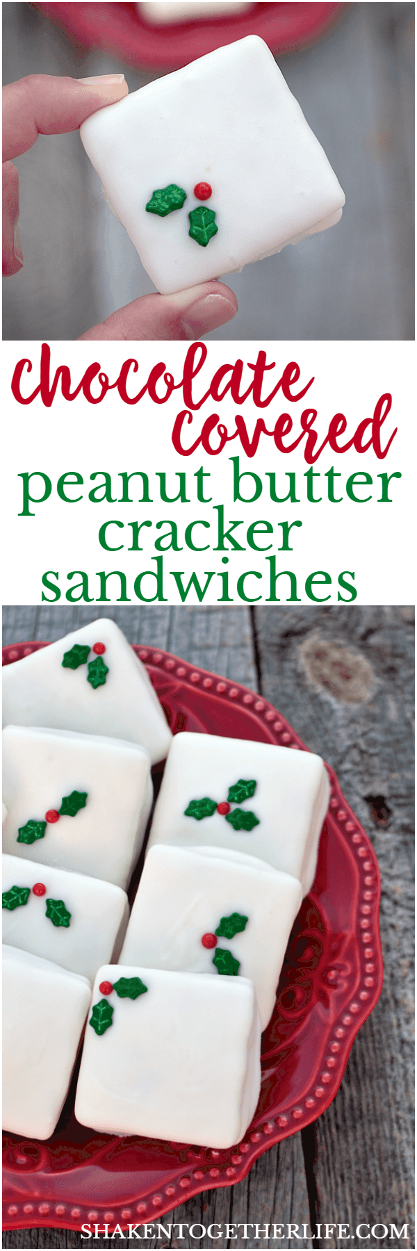 Easy, no-bake Chocolate Covered Peanut Butter Cracker Sandwiches! These are almost too pretty to eat!