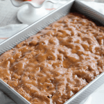 Grandma's Apple Cake with Cinnamon Crackle Glaze - this glazed cake is an easy from scratch cake with a quick cook and pour glaze!