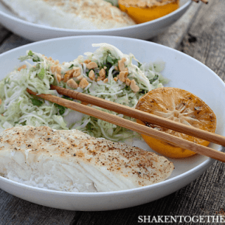 Grilled Halibut with Cilantro Cabbage Slaw – A Healthy 10 Minute Meal