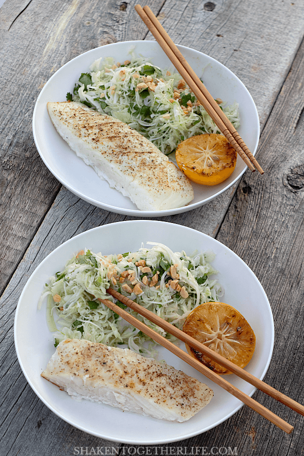 Grilled Halibut with Cilantro Cabbage Slaw is a flavorful, healthy meal that hits your table in just about 10 minutes!