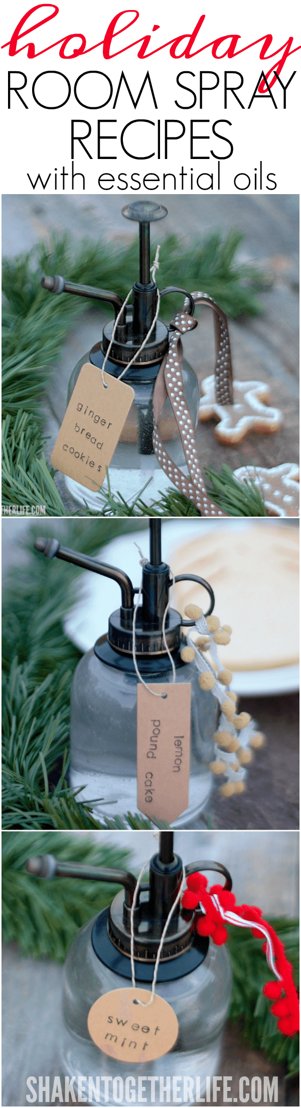 Make Holiday Room Sprays that smell just like holiday treats! Start with the simple room spray base and customize it with essential oils to create Sweet Mint, Gingerbread Cookies and even Banana Bread room sprays! Perfect for foodies, friends and ... even better, these holiday treats have zero calories and make awesome gifts!