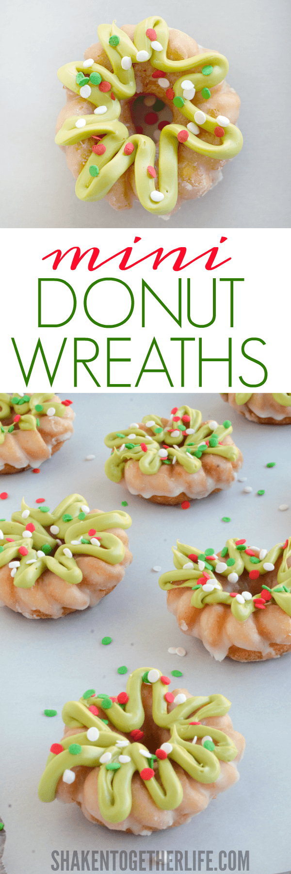 Mini Donut Wreaths are an easy Christmas breakfast idea - great for class parties, breakfast play dates or to package up for your mail carrier!