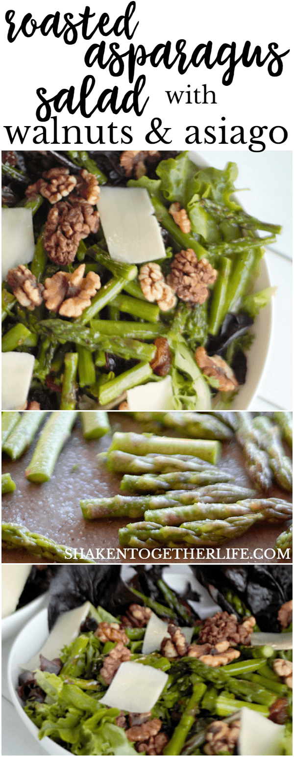 A warm Roasted Asparagus Salad with Walnuts & Asiago is a hearty, healthy winter salad!