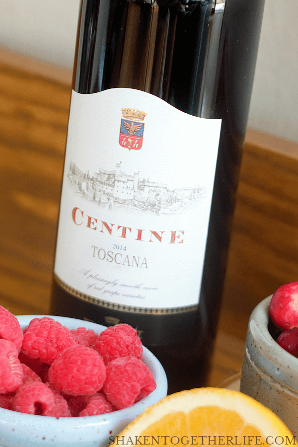 Sparkling Sangria Punch starts with a good, medium bodied red wine - I love this Centine Rosso from Banfi with hints of fruit and spice!