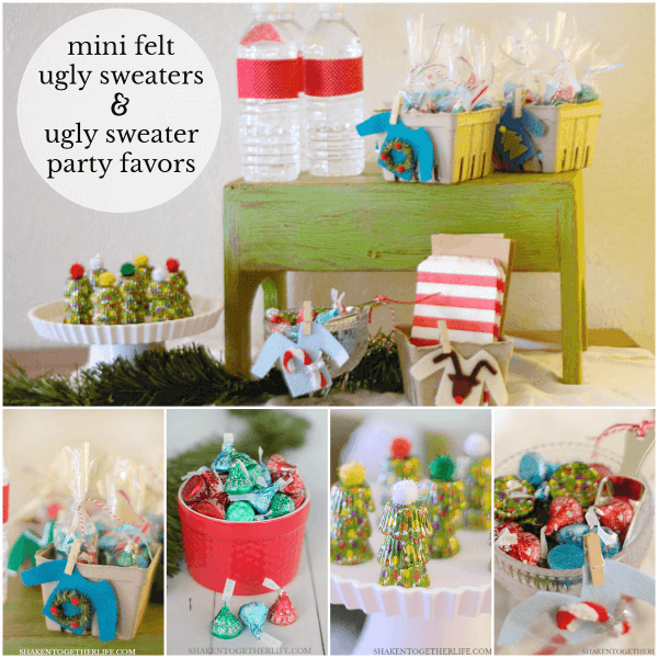 Ugly Sweater Party? Make our adorably atrocious Felt Ugly Sweaters and super easy Ugly Sweater Party Favors!
