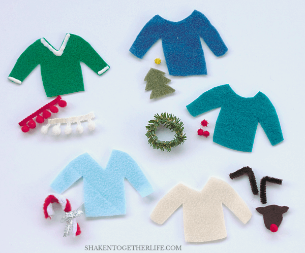 Felt Ugly Sweaters are adorably atrocious - clip them to containers at your party, make them into a garland or hang them on your tree!