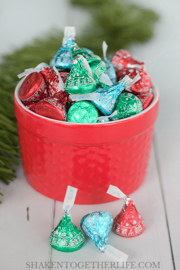 Our Ugly Sweater Party Favors start with Hershey's Kisses Kissmas Sweater Chocolates!