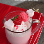 Cupid Cocoa (or strawberry cocoa) is such a fun drink for Valentine's Day! LOVE those sweet kabobs on top!
