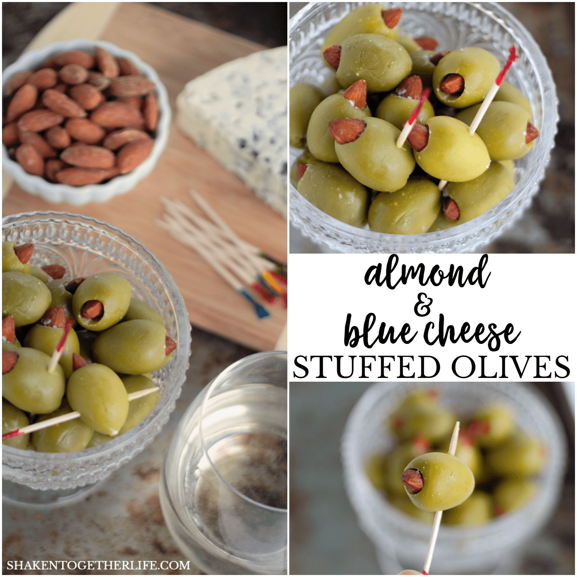 Almond & Blue Cheese Stuffed Olives are totally addictive! Easy appetizer for a cheese board or your game day spread!