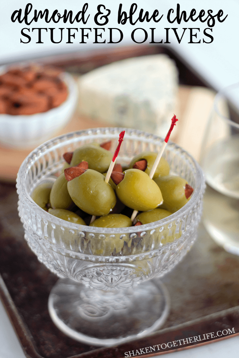Almond & Blue Cheese Stuffed Olives are the perfect easy appetizer! Totally addictive and just the right combo of salty, crunchy and a little funk from the blue cheese!