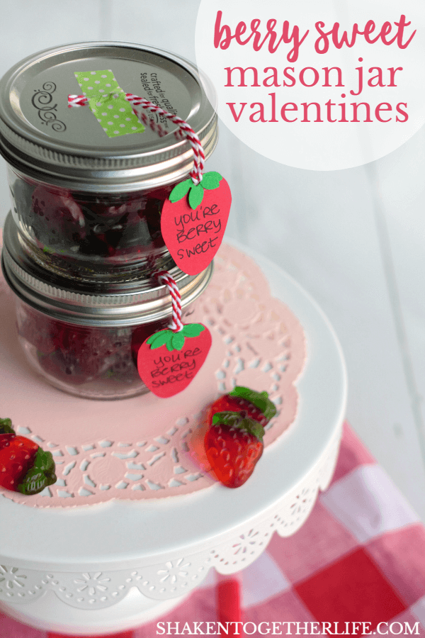Berry Sweet Mason Jar Valentines are perfect for teachers and pals! LOVE those gummy strawberries!