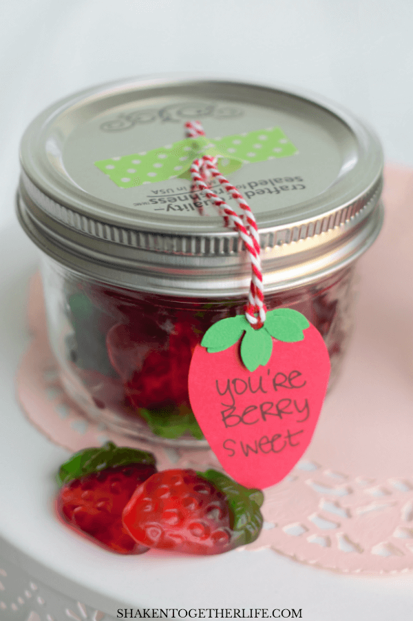 A berry shaped tag completes these easy, adorable Berry Sweet Mason Jar Valentines!