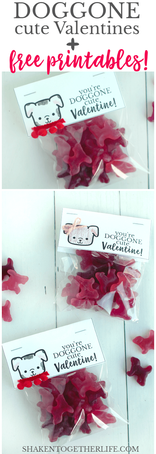 Fill a bag with gummy dogs, color and decorate our FREE printable bag toppers and our DOGGONE Cute Valentines are ready for friends, family and classmates!