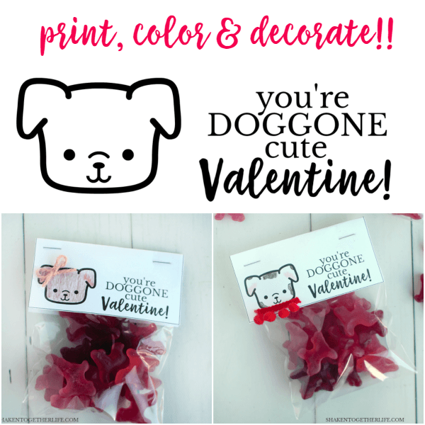 Adorable DOGGONE Cute Valentines with FREE printable bag toppers to color and decorate! Perfect for friends, family and classmates!