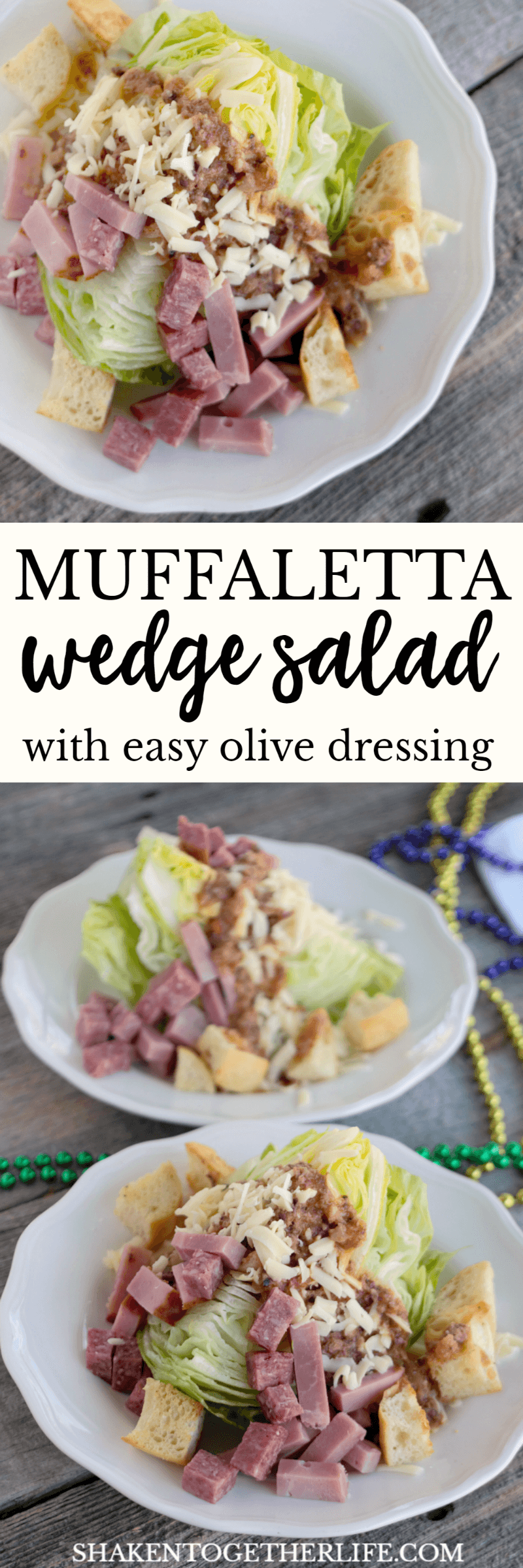 Channel the flavors of a tradition New Orleans sandwich with our Muffaletta Wedge Salad! Meats, cheese and homemade croutons partner with an easy olive dressing for this hearty side salad!