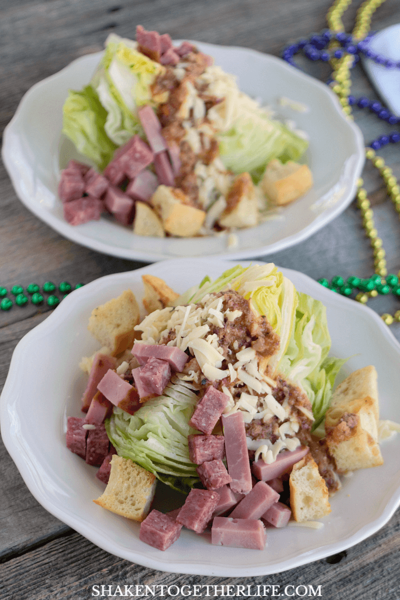 This Muffaletta Wedge Salad is the perfect side dish to celebrate the flavors of Mardi Gras and New Orleans!