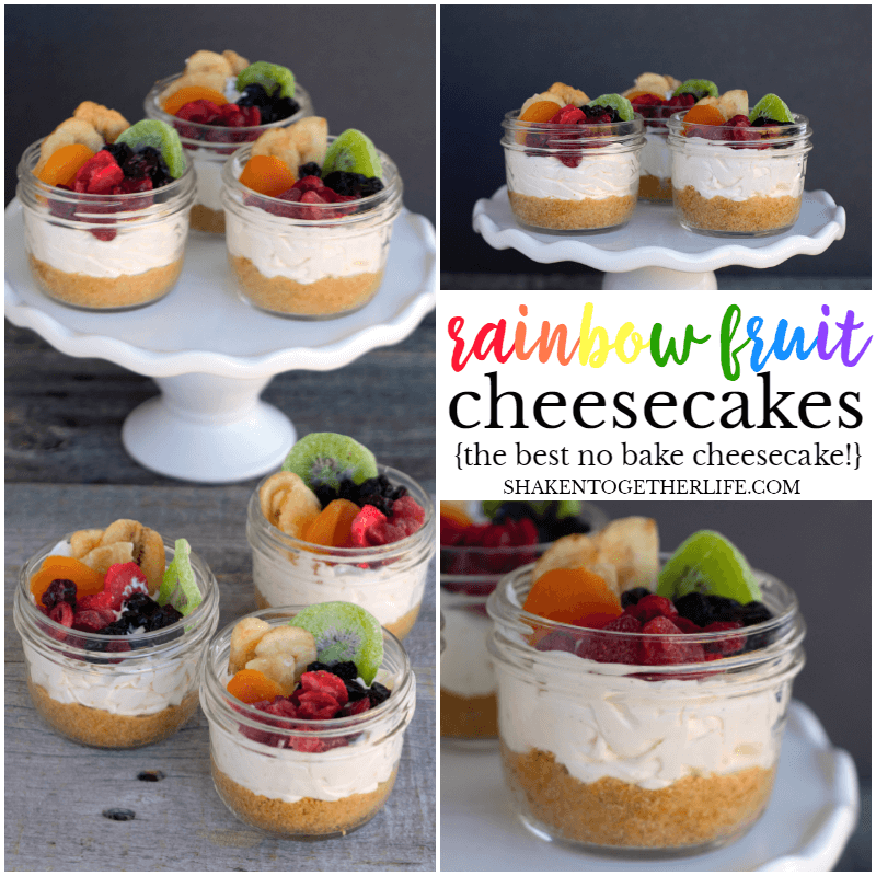 Rainbow Fruit Cheesecakes in a Jar - this colorful, no bake dessert is just so pretty!