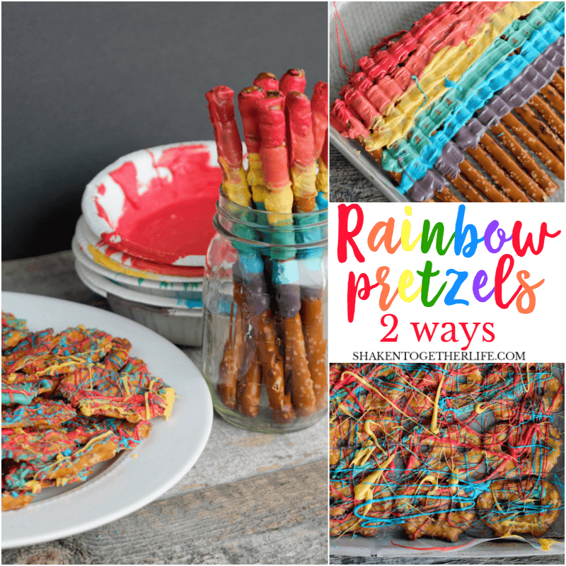 Howto make Rainbow Pretzels 2 ways! Rainbow striped pretzel sticks and rainbow splatter pretzel chips are brightly colored and totally delicious!