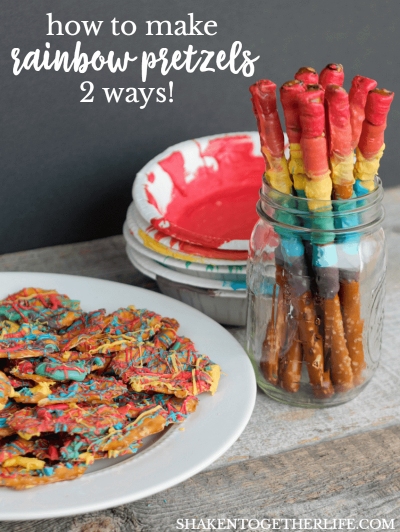 Easy instructions on how to Make Rainbow Pretzels 2 Ways!