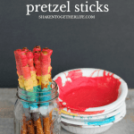 Rainbow Striped Pretzel Sticks are just one of the easy ways to make rainbow pretzels!