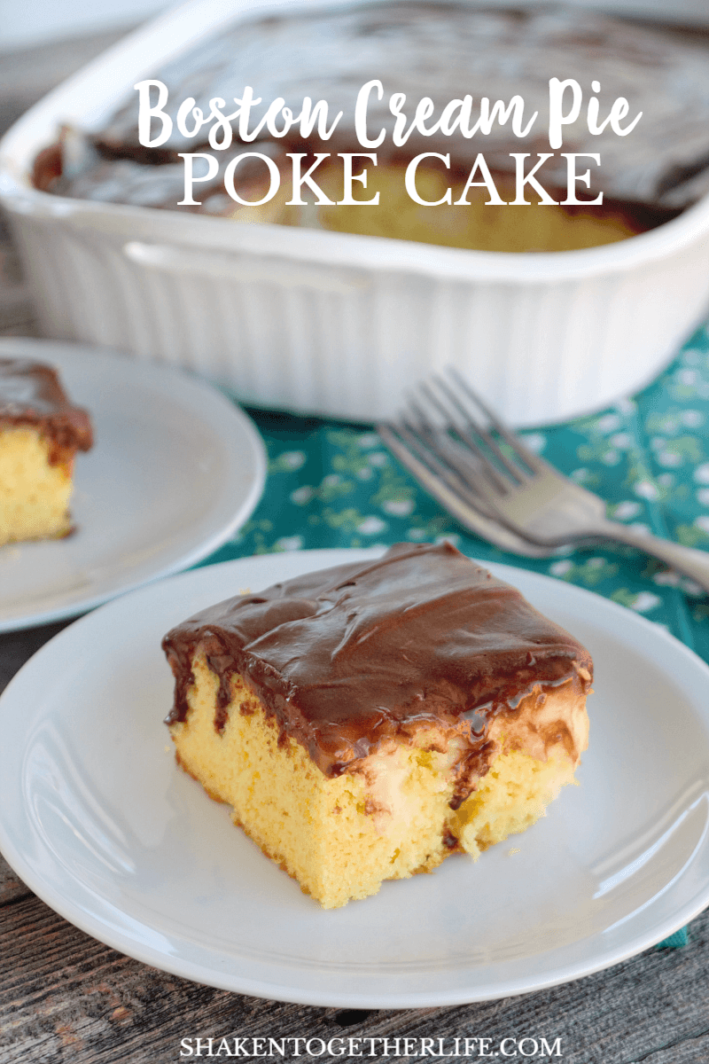 Boston Cream Pie Poke Cake is a delicious twist on a classic dessert! We love this combination of yellow cake, vanilla pudding & creamy chocolate frosting!