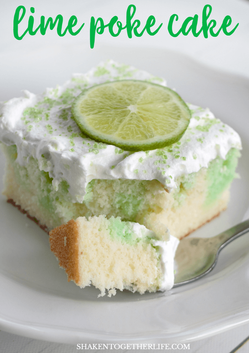 Lime Poke Cake is easy, flavorful and gorgeous! Just look at that lime Jell-O soaked white cake with whipped topping and bright green lime slices!