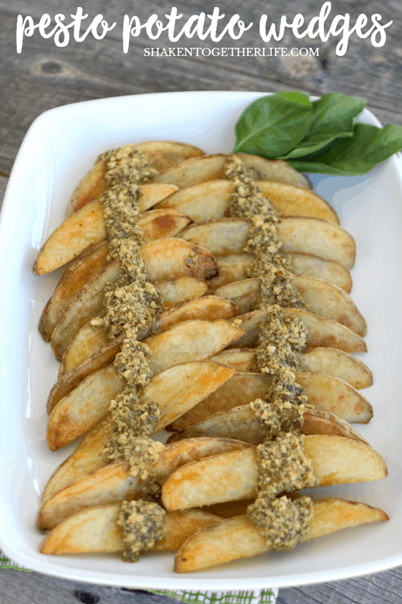 Pesto Potato Wedges couldn't be easier - just drizzle your favorite pesto sauce over perfect roasted potato wedges for an easy, flavorful side dish!