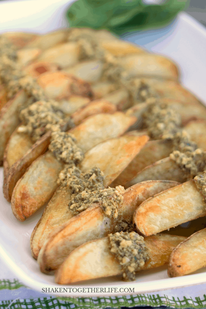Pesto Potato Wedges are one of our family's favorite side dishes - they are so easy and flavorful!
