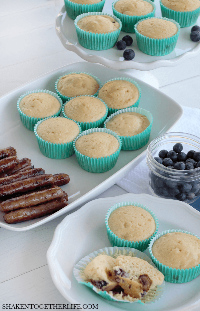 Sausage & Blueberry Pancake Muffins are an easy breakfast or brunch recipe! Perfectly portable and no extra syrup required, these are a great on-the-go recipe for busy mornings, too!